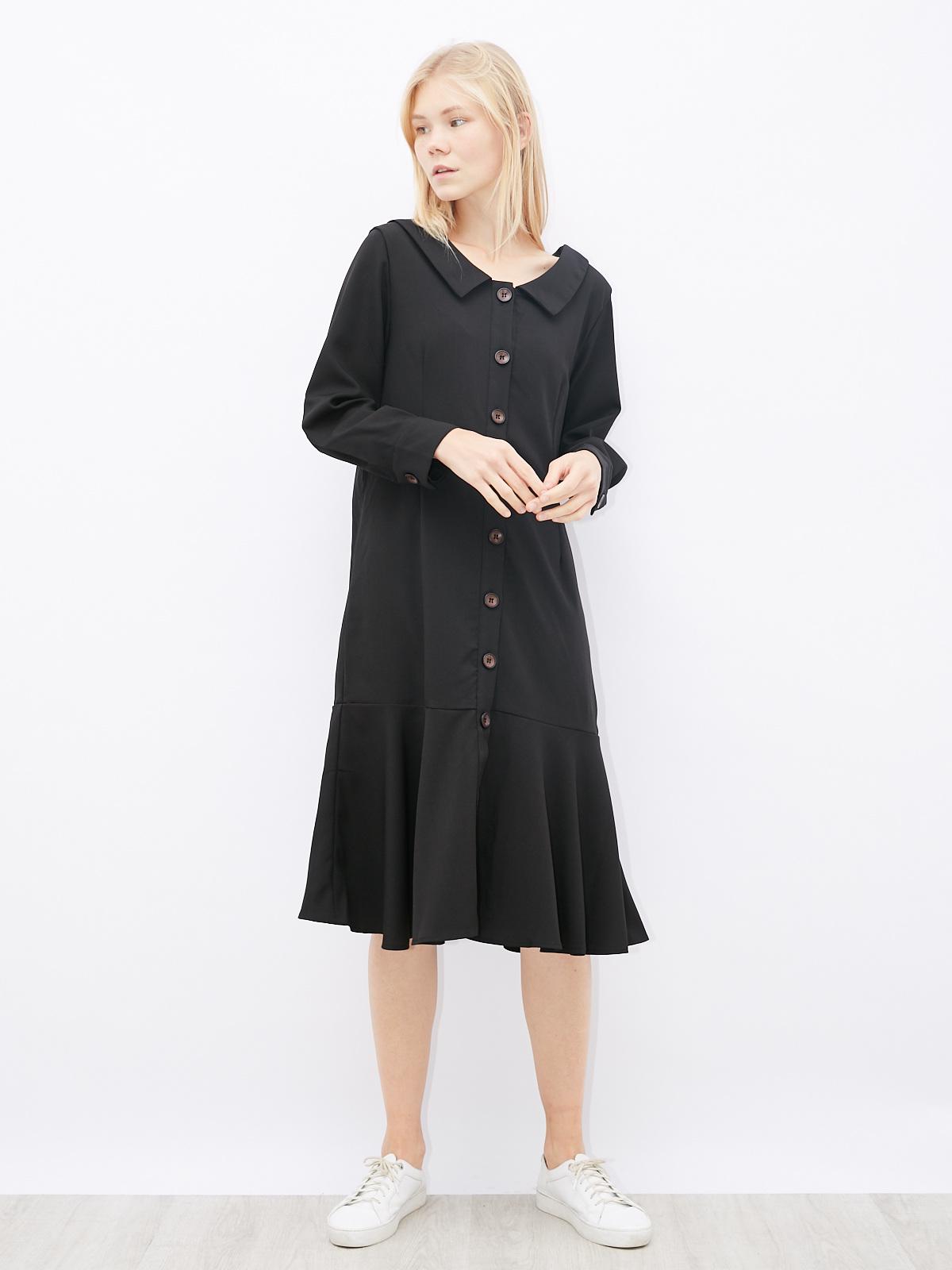 Платье на пуговицах с воланом по низу