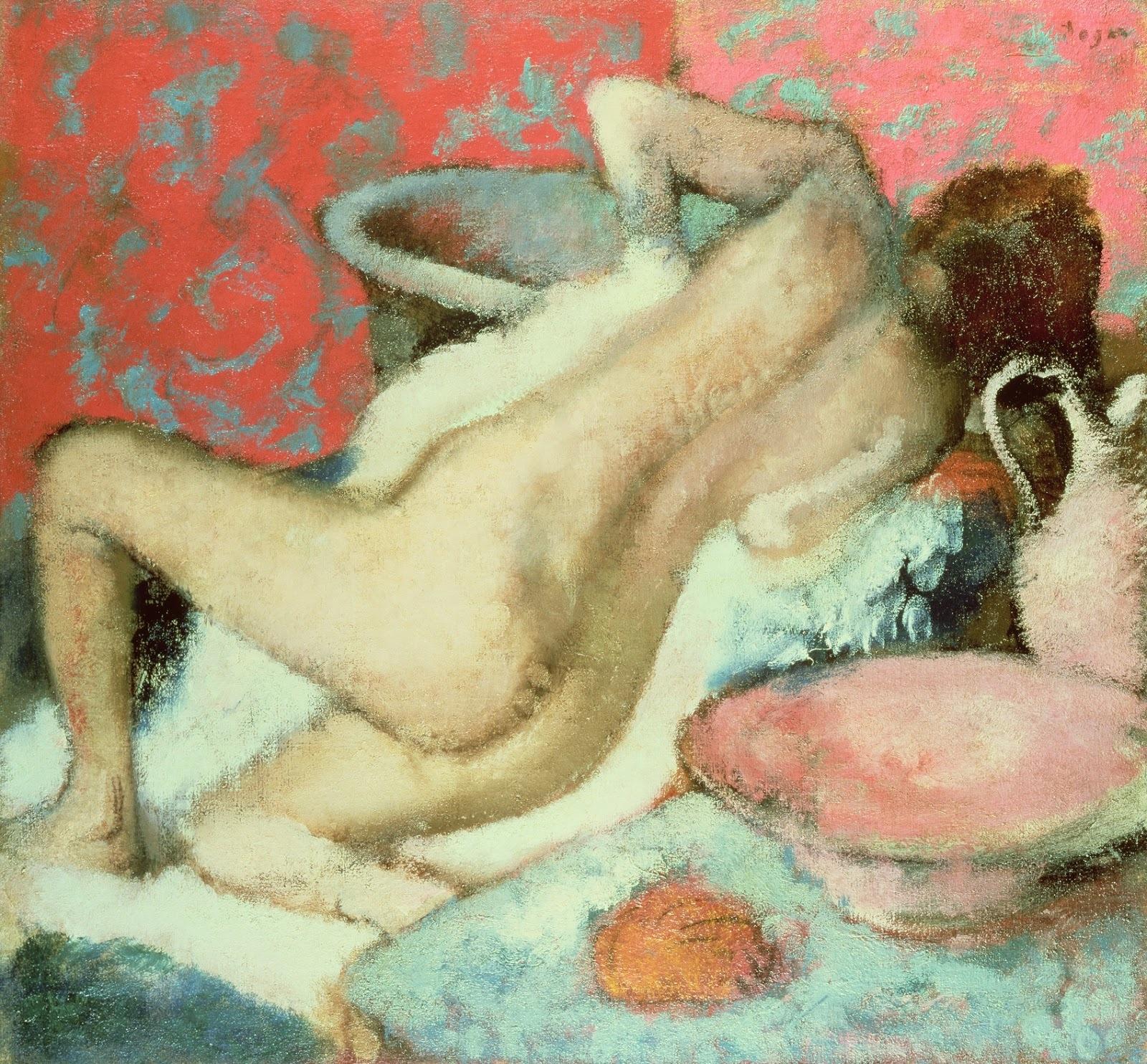 Эдгар Дега. 1896 (ок). Вытирающаяся женщина. Лондон, Национальная галерея.