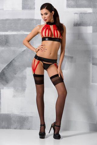 Эротический комплект белья (бюст + пояс + стринги) Aziza красно-черного цвета из стреп-лент