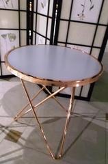 """Журнальный столик """"MK-2373-BR"""" с белой стеклянной столешницей —  Розовое золото 4747"""
