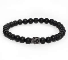 Браслет Nialaya Wristband with Matte Onyx and Black Skull