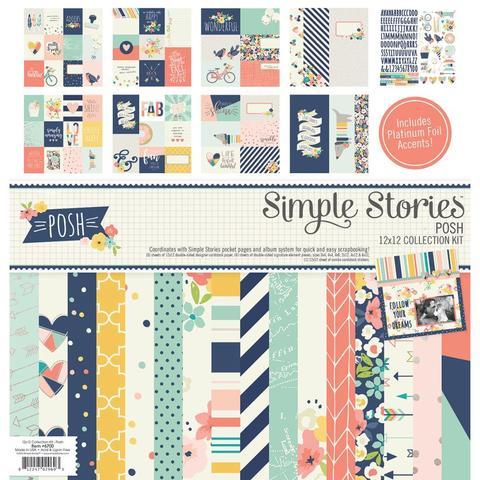 Набор бумаги 30х30 см. с украшениями Simple Stories Collection Kit - Posh W/Foil Accents
