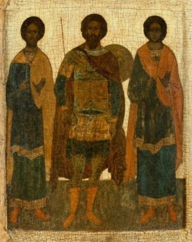 Икона  святые Федор Стратилат, Флор и Лавр на дереве на левкасе мастерская Иконный Дом