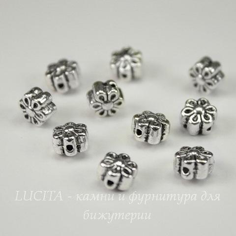 """Бусина металлическая """"Цветочек"""" (цвет - античное серебро) 6х4 мм, 10 штук"""