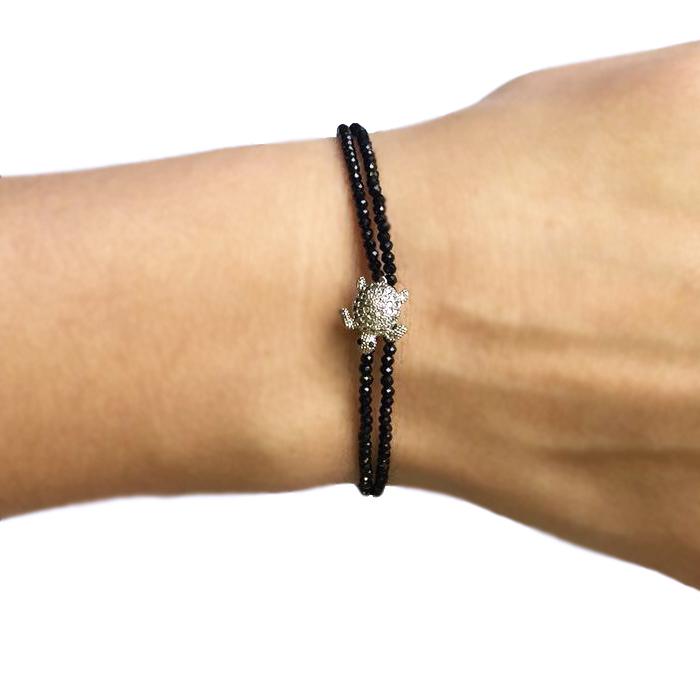 Двойной браслет из миниатюрной черной шпинели с вставкой ювелирного качества Черепашка Karabulat