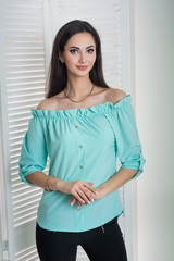 Мика. Молодежная оригинальная летняя блуза. Мята