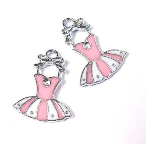 Подвеска Розовое платье 21 мм платина