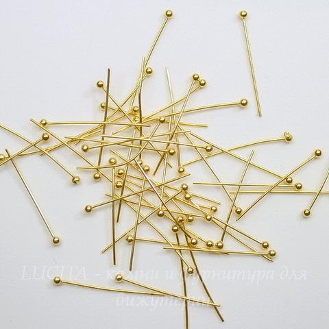 Комплект пинов с шариком 20х0,5 мм (цвет - золото), примерно 50 штук