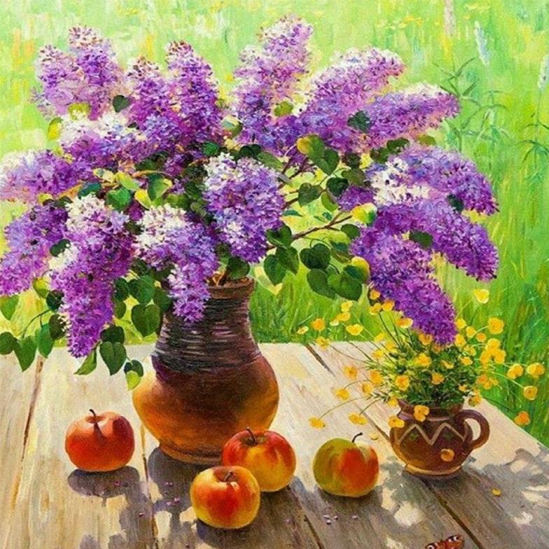 Картина раскраска по номерам 30x40 Букет фиолетовой сирени ...