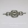"""Винтажный декоративный элемент - коннектор """"Листья"""" (1-1) 49х33 мм (оксид серебра)"""
