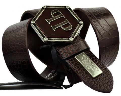 Ремень мужской для джинсов тёмно-коричневый Philipp Plein 40 мм 40Ph.Plein-PR-046
