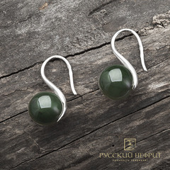"""Серьги """"Perlus"""" с зелёным нефритом"""