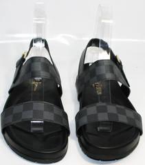 Мужские кожаные сандали Louis Vuitton 1008 01Blak.
