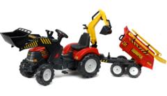 Трактор-экскаватор педальный с прицепом Red Power Loader 1002WH