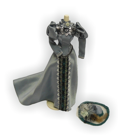 Платье для визитов - Серо-зеленый. Одежда для кукол, пупсов и мягких игрушек.
