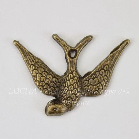 "Подвеска ""Птица"" (цвет - античная бронза) 25х17 мм"