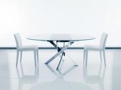 Стол BARONE (01.92) G093 хром/С150 э-бел. гл. стекло, L021алюм.вставка — белый