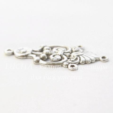 Винтажный декоративный элемент - коннектор (1-3) 34х16 мм (оксид серебра) (светлые)
