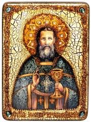 Инкрустированная икона Святой праведный Иоанн Кронштадтский 29х21см на натуральном дереве в подарочной коробке