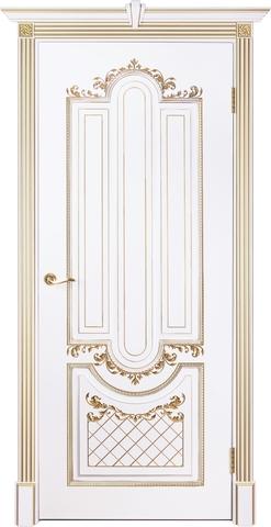 Дверь Prestigio Реале-2, цвет  белый/патина золото, глухая