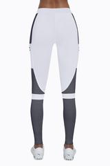 Легинсы спортивные белые с серым 200 den