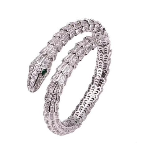 Браслет Змея из серебра с цирконами (lux)