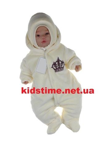 Велюровый комбинезон для новорожденных Корона молочный с бордовым
