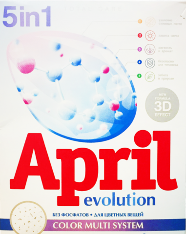 Сонца April Стиральный порошок Evolution 5 в 1 Color Multi System Автомат 400г
