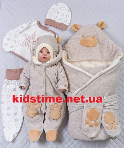 Зимний комплект на выписку Little Bear капучино звезды
