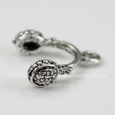 "Подвеска ""Наушники"" 15х13 мм (цвет - античное серебро)"