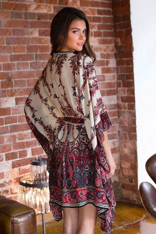 Женский свободный итальянский этнический восточный женский халат кимоно миа миа из вискозы с принтом с поясом вид сзади