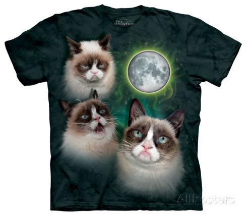Футболка Mountain с изображением трех грустных котов - Three Grumpy Cat Moon