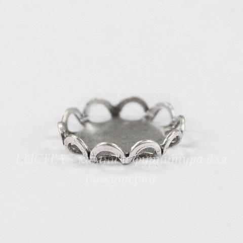 Сеттинг - основа для камеи или кабошона 9 мм (оксид серебра) (2 вид)