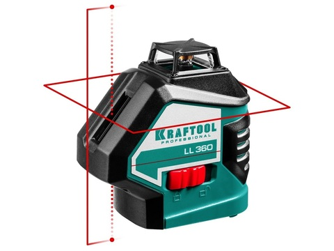 KRAFTOOL LL360 нивелир лазерный, 2х360° , 20м/70м, IP54, точн. +/-0,2 мм/м, в коробке