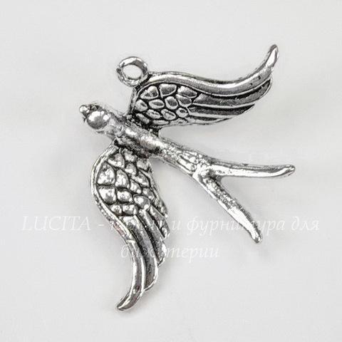 """Подвеска """"Птица"""" 3D (цвет - античное серебро) 31х22 мм"""