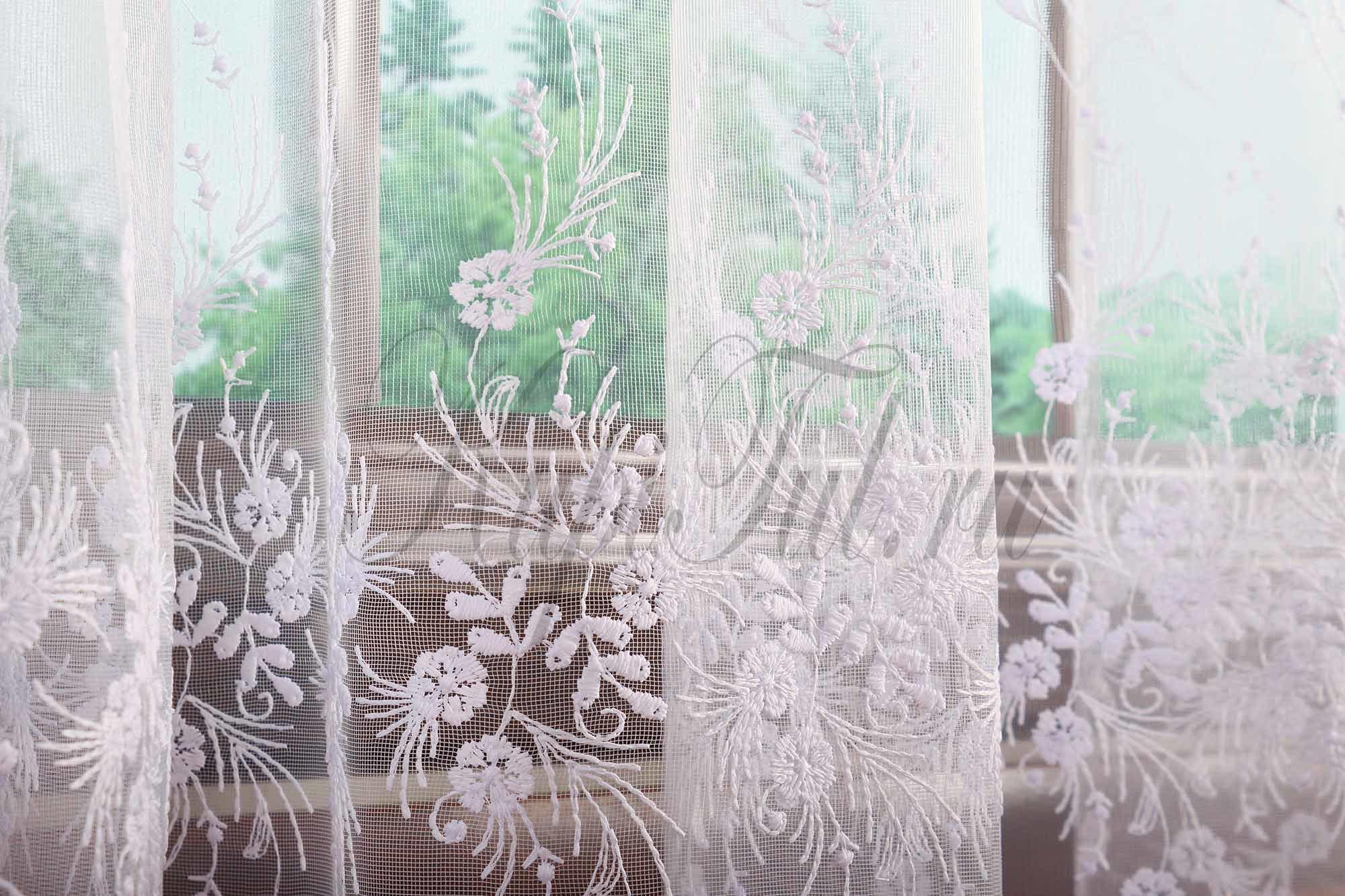 Микросетка с вышивкой Весна (белая)