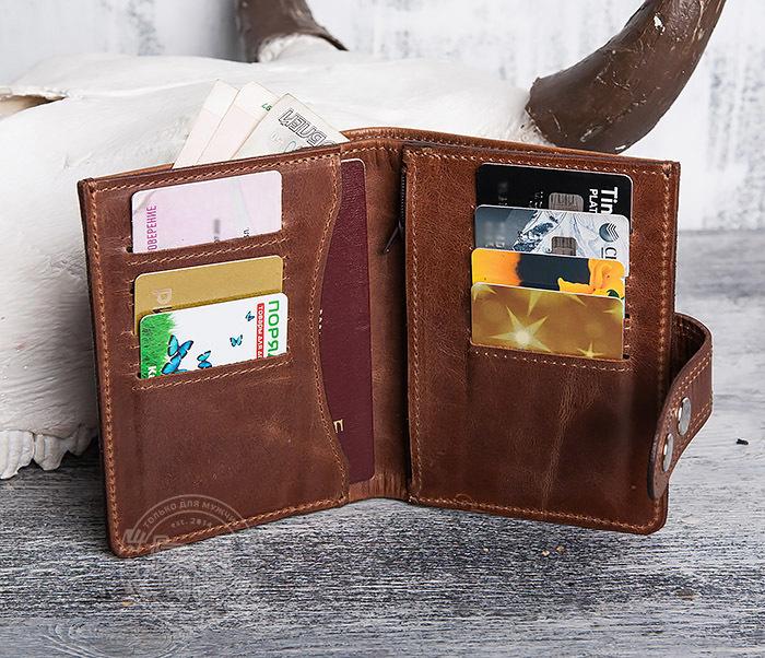WL283-2 Крутое мужское портмоне ручной работы из кожи фото 08