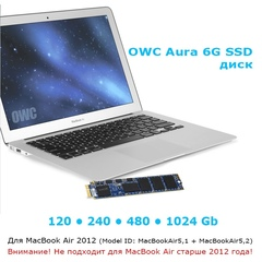 Диск SSD OWC для Macbook Air 2012 OWC 1TB Aura 6G SSD