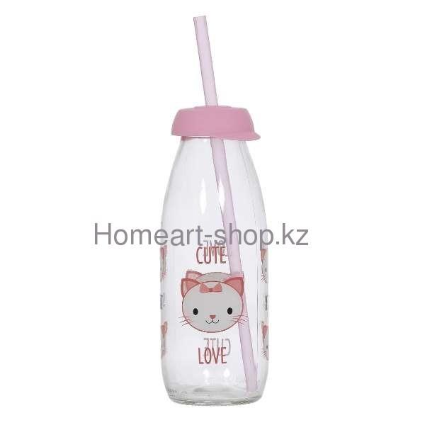 Бутылка детская с трубочкой cat 500 мл ;