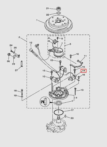 Катушка освещения для лодочного мотора T40 Sea-PRO (8-14)