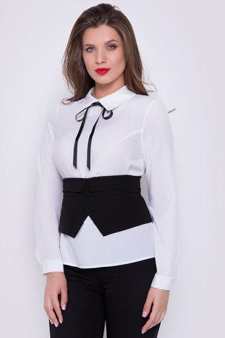 Стильный и практичный образ на каждый день. Белая блузка с длинным рукавом на манжете. Отложной ворот. По спинке застежка на пуговицах. Корсет съемный. по спинке замок.