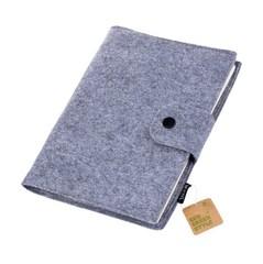 Бизнес-блокнот, Lejoys, Felt, на спирали, серый, А5, 210*150 мм