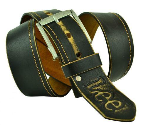 Мужской широкий джинсовый чёрно-коричневый потёртый ремень 45 мм из натуральной кожи