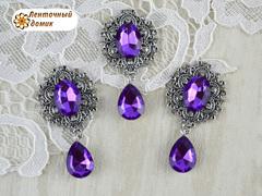 Камень в оправе античное серебро с подвеской фиолетовый