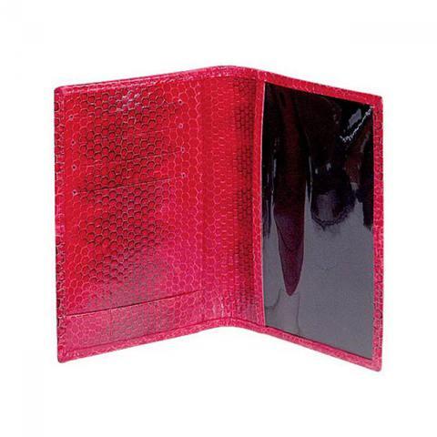 Стильная яркая красная обложка для паспорта и автодокументов из натуральной экзотической кожи морской змеи QUARRO AN-010