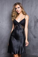 Платье домашнее женское Evelin из однотонного сатина черного цвета