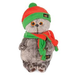 BASIK CAT IN ORANGE GREEN CAP WITH SCARF 19 CM