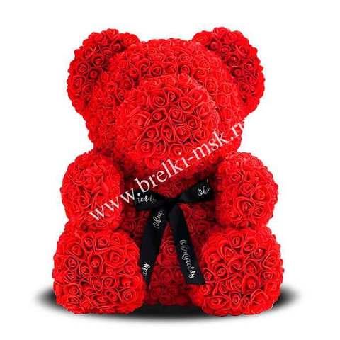 Красный мишка из 3D роз с черной фирменной лентой 40 см.