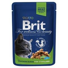 """Пауч для стерилизованных кошек, Brit Premium, """"Курица"""""""