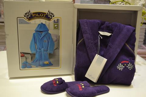 Халат детский махровый для мальчика с тапочками  PILOT ПИЛОТфиолетовый / Soft Cotton (Турция)